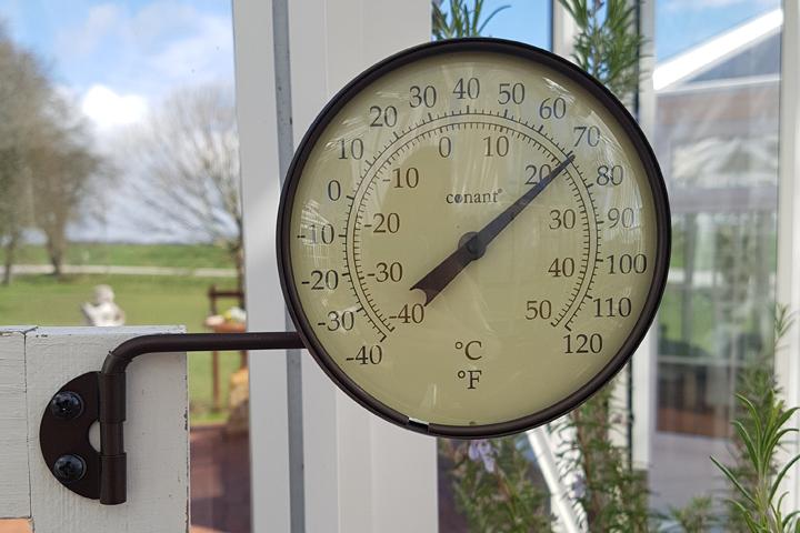 termometer rund brons
