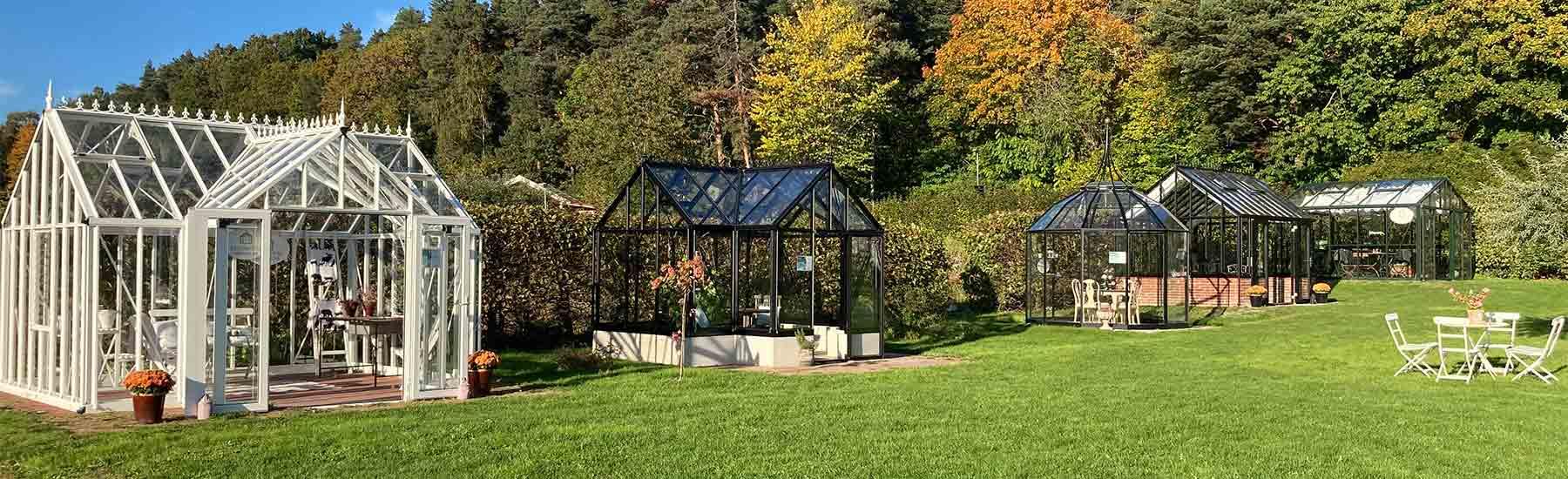 Utställning och visningsträdgård av växthus, orangerier och isolerade uterum i Solna, Stockholm
